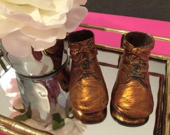 Vintage Copper Coated Baby Shoe Booties Mid Century