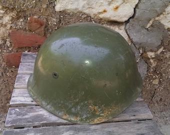 Vintage Military Helmet, Green Steel Helmet, Bulgarian Army Used Helmet, Cold War Helmet, Collectible Uniform Helmet, Gift Idea