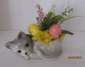 Kitty Planter Ceramic, Handmade,Succulent or Plant Pot .