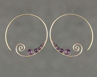 14k Gold filled Amethyst wiring scroll hoop earring handmade US freeshipping Anni Designs