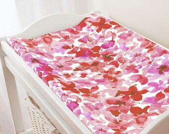 Carousel Designs Pink and Red Floral Changing Pad Cover