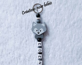 "Keychain ""Fox"" with wooden beads with the name of your choice"