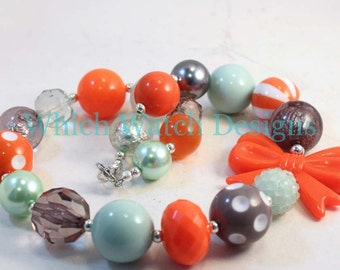 Easy Breezy.. Chunky Mint Green, Orange and Gray Toddler Bubblegum Necklace