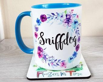 Personalised twilight name mug floral wreath personalized mug custom coffee mug Teacher gift tea mug Gift for her teacher appreciation