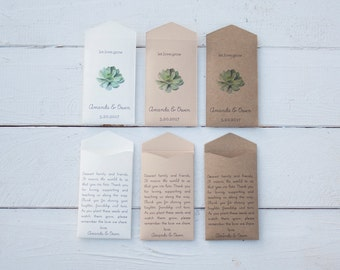 Let Love Grow - 50+ Succulent Kraft Custom Seed Packet Wedding Favors - Personalized Seed Envelope Wedding Favor - Many Colors Available