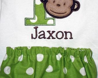 Boy's Mod Monkey Birthday Shirt and Diaper Cover
