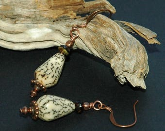 Tribal Style Earrings, Salwag Palm Seed Teardrop Shaped Beads, Copper and Glass Bead Accents, Natural Materials, Casual Style Drop Earrings
