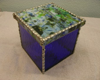 Stained Glass Box with Lid - Cobalt Blue with Blue / Green / White Lid 4 1/2 x 4 1/2 x 4 1/4