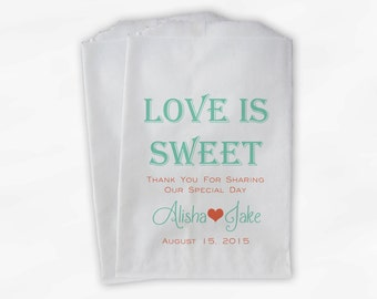 Love Is Sweet Wedding Candy Buffet Treat Bags - Personalized Favor Bags in Mint and Coral - Custom Paper Bags (0069)