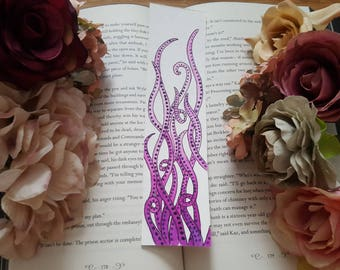 Purple Octopus Watercolor Bookmark