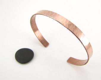 Lit hammered copper cuff bracelet - made to order