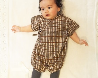 Baby Kimono, Jinbei, Romper for babies, CHOCOLAT bébé, hand block printed fabric from India, made in France