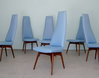 Set of Six Mid-Century Modern Dining Chairs Designed by Adrian Pearsall for Craft Associates