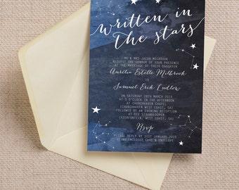 Personalised Constellation Stars Midnight Blue Wedding Invitation & RSVP with Envelopes