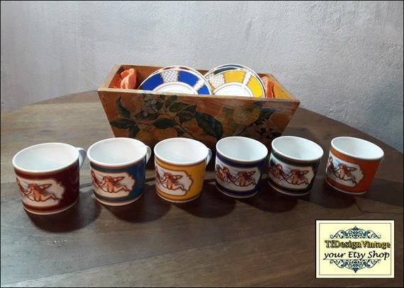 Juego de café con Angelitos, Razas café set de 6, Juego café original regalar, Tazas café color, Tazas café porcelana, Porcelana blanca