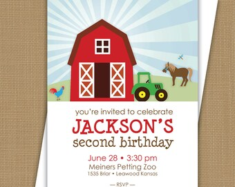 Farm Birthday Invitation. Barnyard Invitation