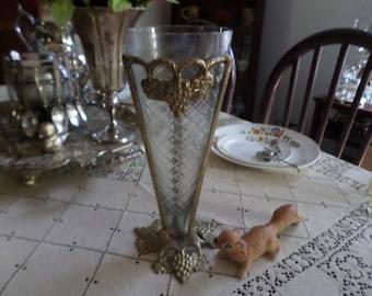 Lovely Southern Plantation Estate Find-Gilt Metal Stand/Crystal Vase-Trumpet Epergne/Centerpiece-EAPG
