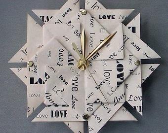 Memorable 1st Anniversary Gift - Love Origami Clock - Paper 1st Anniversary Gift - Large