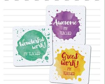 Teacher Merit Stickers - 25mm Square Watercolour Splats theme, Personalised Name