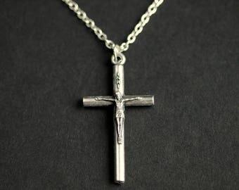Crucifix Necklace. Catholic Necklace. Tube Crucifix Charm Necklace. INRI Necklace. Silver Necklace. Christian Jewelry. Catholic Jewerly.