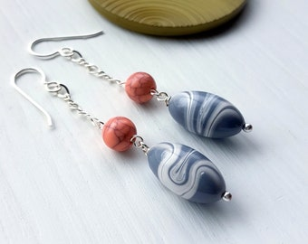 oil and water - earrings - vintage beads, sterling silver, chain earrings, pink, grey, gray
