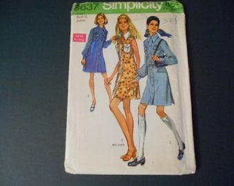 Simplicity  8637, Juniors Vintage Shirt Dress,  Size 7
