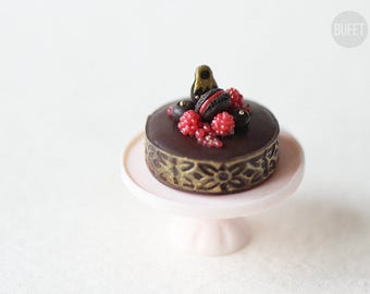 Dollhouse Miniature Chocolate Cake with red berries - Miniature Food - 12th Scale - 1/12 Scale Dollhouse Miniatures