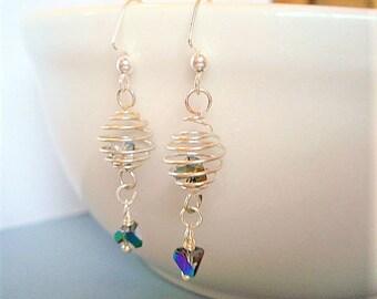 Silver Spiral Earrings Geometric Earrings Silver Dangle Earrings Modern Earrings Planet Earrings