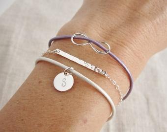 Personalized Layered bracelet set, thin hammered bar bracelet, infinity bracelet, silver initial bracelet, leather bracelets, custom colors