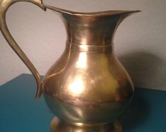 Large solid brass pitcher