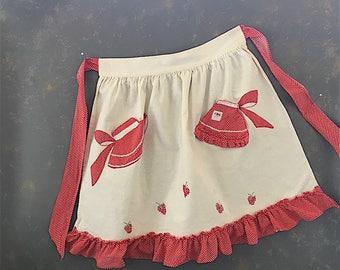 Vintage cotton half apron, red polka dots, strawberry. ruffled, appliqué,