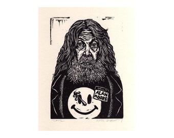 Alan Moore Art Print - Linocut Print - Hand Printed Block Print - Literary Art - Comic Book Art - Watchmen - Home Decor - Prints - Linocuts