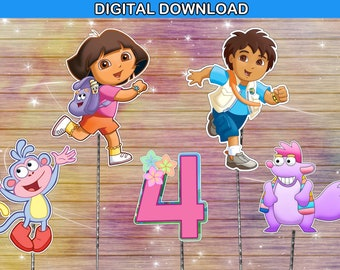 Dora the explorer centerpiece - cake topper double sided birthday decoration - instant download YOU PRINT