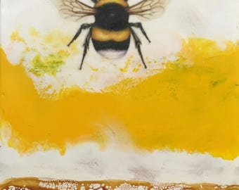 Original Artwork-mixed media encaustic- The Bees