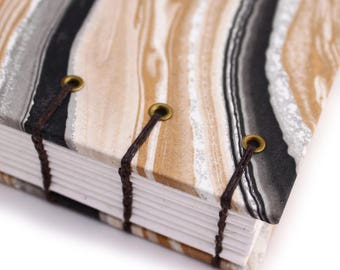 Unlined Journal - Lay Flat Journal - Black and Gold Marbled/Marbelized Paper - 160 pages - handbound by Ruth Bleakley