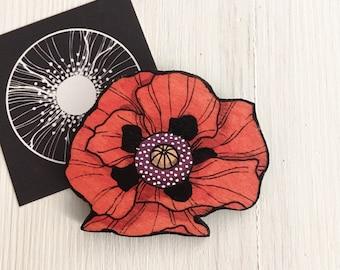 Red Poppy wood Brooch