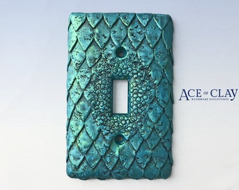 Mermaid Fish Scale Light Switch Cover sculpey unique wall bathroom fantasy folklore teal creature handmade scales decor decoration aquatic