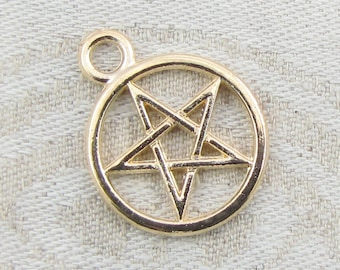 1 or 10, Pentacle Charm, Pentacle, Pentagram, Pagan, Pentagram Charm, Wicca, Wiccan, Witch, Witchcraft, Rose Gold Charm, SYM089RG