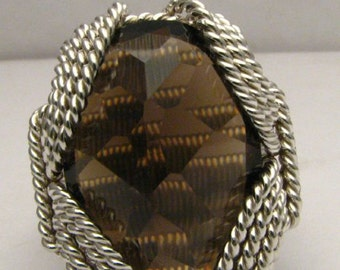 Handmade Sterling Silver Wire Wrap Smoky Quartz Ring