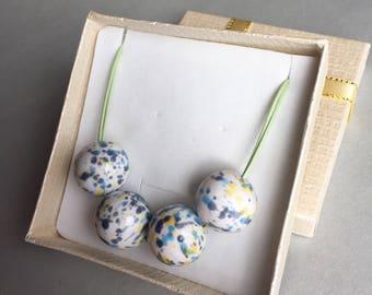 Multicoloured Ceramic Necklace- Ceramic Jewellery - Large Ceramic Beads