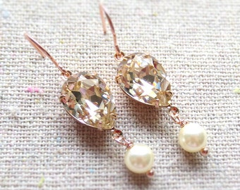 Swarovski Crystal Champagne Teardrop Pearl Delicate Dangling Blush Rose Gold Bridal Earrings Wedding Jewelry Bridesmaids Gifts