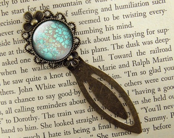 Faux Turquoise Bookmark, Turquoise Blue,  Book Mark, Bronze Bookmark, Antiqued, Book Lover, Book Accessories, Clip Bookmark, Victorian