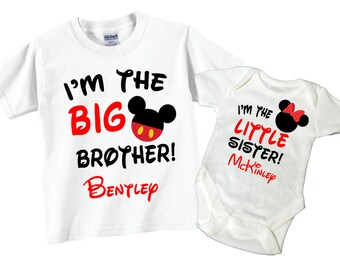 Big Brother, Little Sister Shirts with Tshirt and Bodysuit Sibling Set Tees