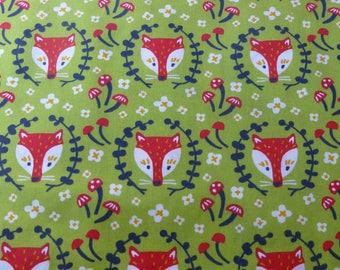 1/2 Yard Organic Cotton Fabric - Birch Fabrics Folkland - Foxy in Grass
