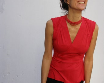 Red top-womens blouse-Tank tops-Summer tops-2 ways top/shirt- TURNAROUND  TOP -Yoga top-Womens clothing