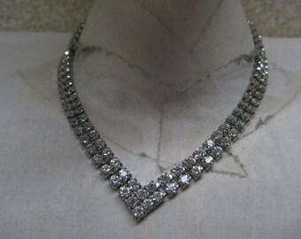Rhinestone Silver Necklace Clear Vintage