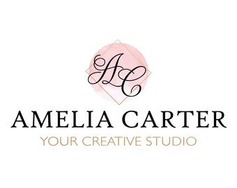 Premade logo, Watercolor logo, Blog logo, Blog header, Personalized Logo, Watercolor header, Custom Logo, Logo design, copper, rosegold