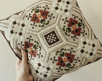 "Vintage Embroidered Pillow Mid Century Folk Art Decorative Throw Pillow 13"" x 13"""
