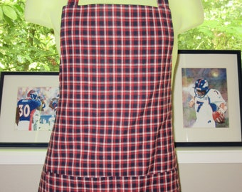 Mens Aprons - Aprons for Men - Red White and Blue Plaid