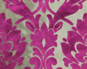 Upholstery Fabric - Radcliffe - Orchid - Lurex Burnout Velvet Damask Upholstery & Drapery Fabric by the Yard - Available in 23 Colors